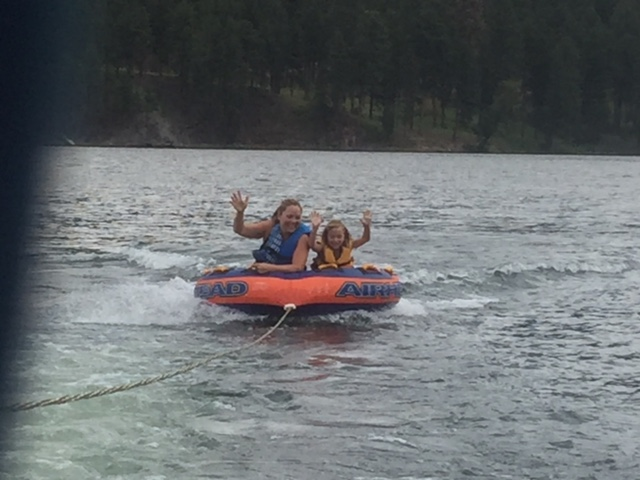 Carly tubing with daughter