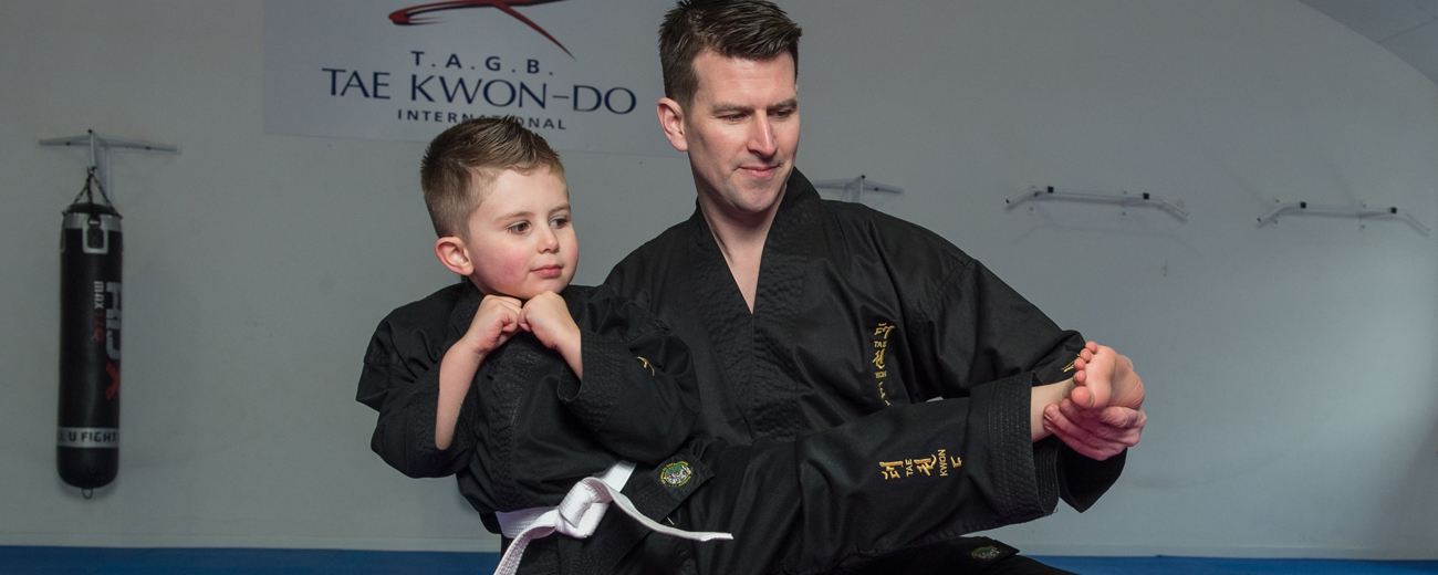 Gordan Fearn Teaching Son Tae Kwon Do at Gordon Fearn Tae Kwon Do in Ringwood, Hampshire