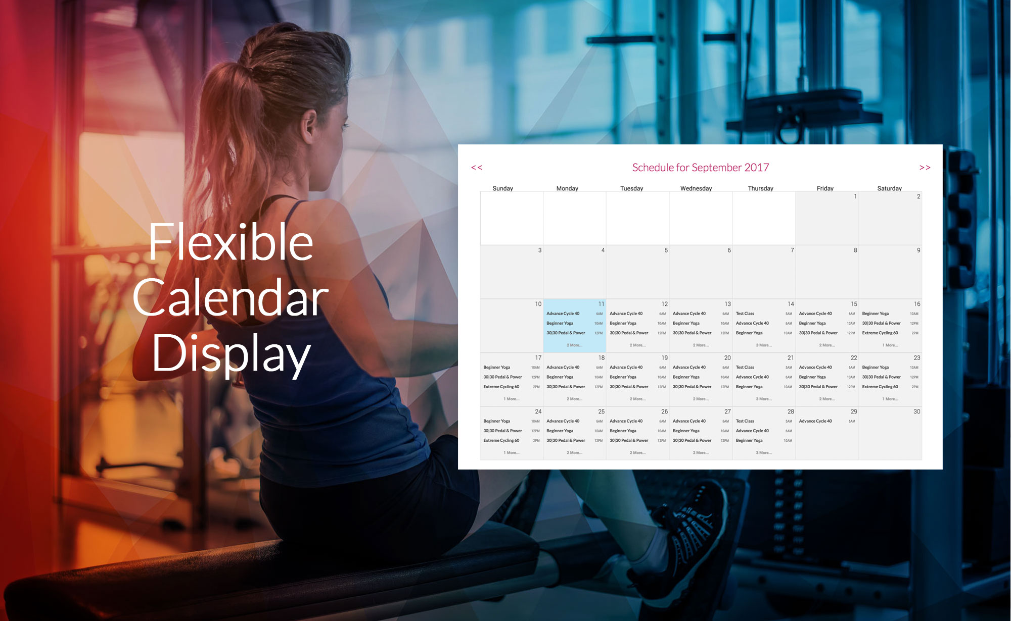 Flexible MINDBODY Calendar Display