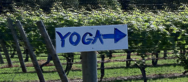 Yoga Sign on the Grounds of Channing Daughters Winery
