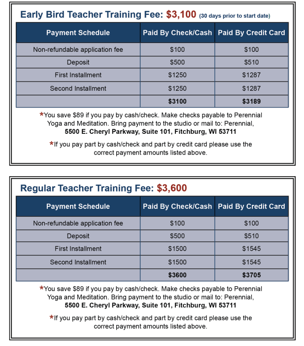 Perennial Wisdom Yoga School Early Bird & Regular Teacher Training Fees Infographic